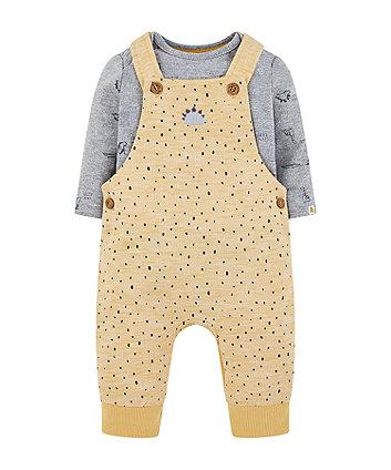 Mothercare Mustard Dinosaur Dungarees And Grey Rib Bodysuit Set