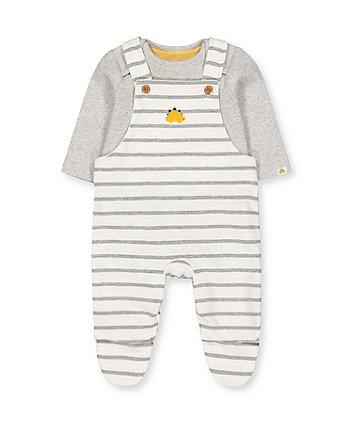 Mothercare Dinosaur Stripe Dungarees And Grey Bodysuit Set