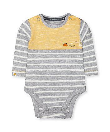 Mothercare Grey Stripe Dinosaur Bodysuit