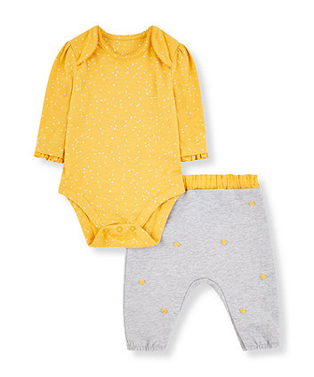 Mothercare Yellow Bodysuit And Grey Pom Pom Trousers Set