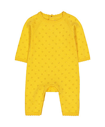 Mothercare Yellow Pointelle Knit All In One