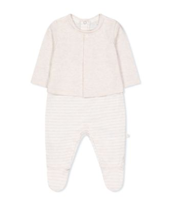 Mothercare My First Little Zoo Oatmeal Stripe Bear Mock Jacket All In One
