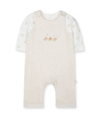 Mothercare My First Little Zoo Oatmeal Animal Velour Dungarees And Bodysuit Set