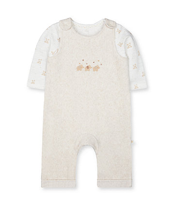 Mothercare My First Oatmeal Animal Velour Dungarees And Bodysuit Set