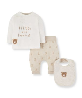 Mothercare My First Little Zoo And Loved Bear Bib, T-Shirt And Joggers Set