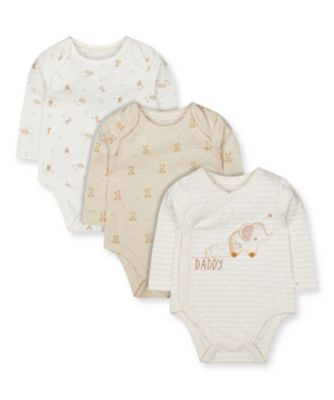 Mothercare My First Unisex Long Sleeve Bodysuits - 3 Pack