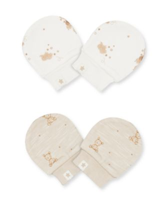 Mothercare My First Little Zoo Teddy Bear Scratch Mitts - 2 Pack