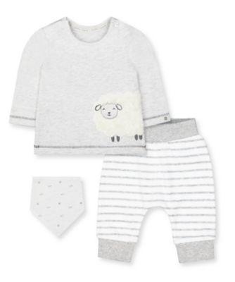Mothercare NB Modern Grey Little Lamb T-Shirt, Joggers And Bib Set