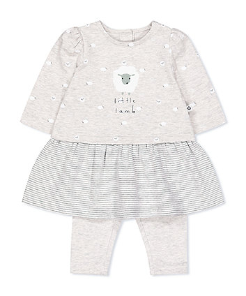 Mothercare Grey Little Lamb Dress And Leggings Set