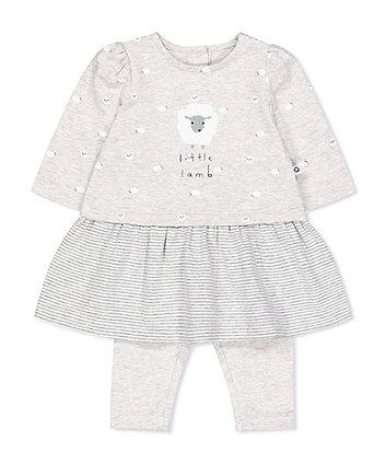Mothercare Grey Little Lamb Dress And Leggings Set