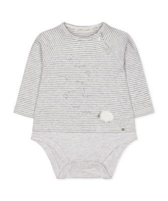 Mothercare NB Modern Grey Stripe Lamb Mock-Top Long Sleeve Bodysuit