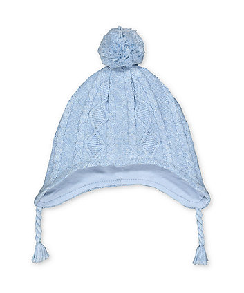 Mothercare My First Blue Knitted Pom Hat
