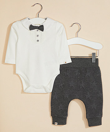 Mothercare White Bow Bodysuit And Embossed Joggers Set