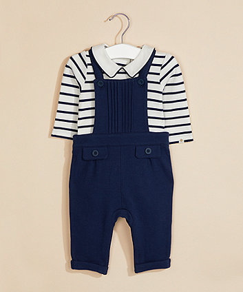 Mothercare Navy Textured Dungarees And Bodysuit Set