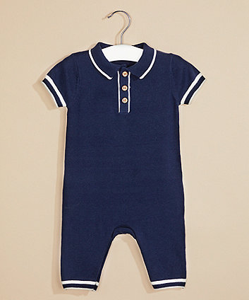Mothercare Navy Knit Collared All In One