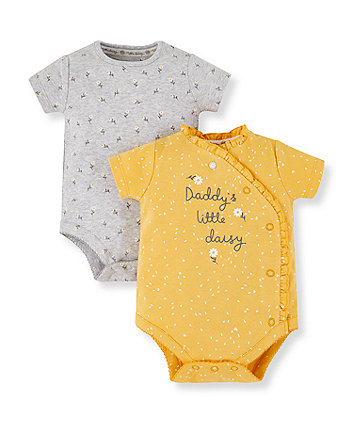 Mothercare Grey And Yellow Daddy's Little Daisy Wrap Bodysuits - 2 Pack
