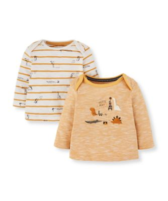 Mothercare Dino Yellow Stripe And Dinosaur T-Shirts - 2 Pack