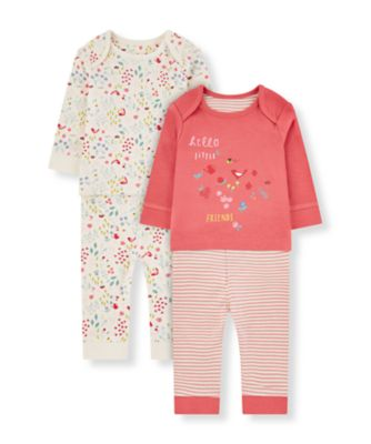 Mothercare Floral Little Friends Pyjamas - 2 Pack