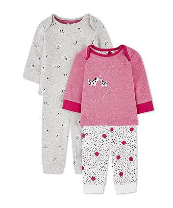 Mothercare Pink Spotty Puppy Pyjamas - 2 Pack