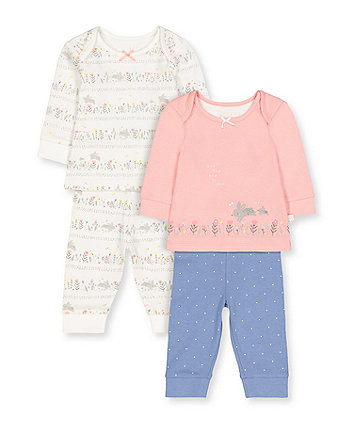 Floral Lovely Bunny Pyjamas - 2 Pack