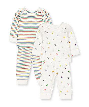 Mothercare Alphabet And Stripe Pyjamas - 2 Pack