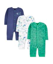 Mothercare Dinosaur Friends Sleepsuits - 3 Pack