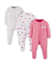 Mothercare Spotty Puppy Sleepsuits - 3 Pack