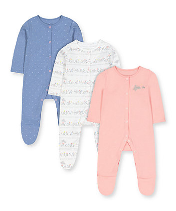 Mothercare Lovely Bunny Sleepsuits - 3 Pack