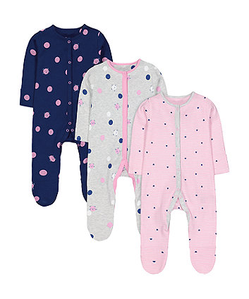 Mothercare Cat Slepsuits - 3 Pack