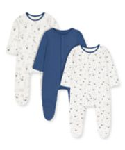 Mothercare Blue Bunny And Bear Sleepsuits - 3 Pack