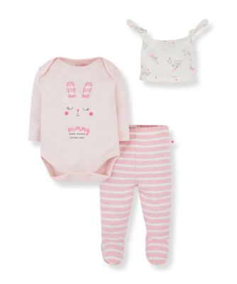 Mothercare Mummy And Daddy Pink Bunny Mummy Bodysuit, Leggings And Hat Set
