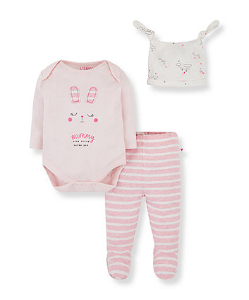 Mothercare Pink Bunny Mummy Bodysuit, Leggings And Hat Set