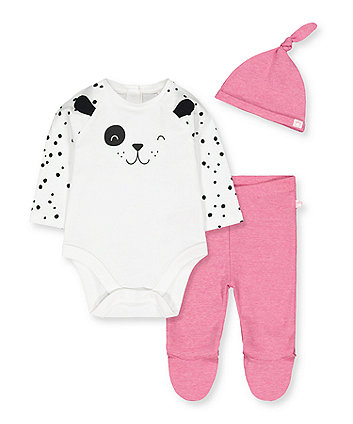Mothercare Spotty Puppy Bodysuit, Leggings And Hat Set