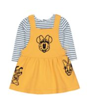 Mothercare Disney Minnie Mouse Yellow Pinny Dress And Stripe Bodysuit Set