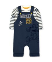 Mothercare Disney Mickey Mouse Dungarees And Bodysuit Set