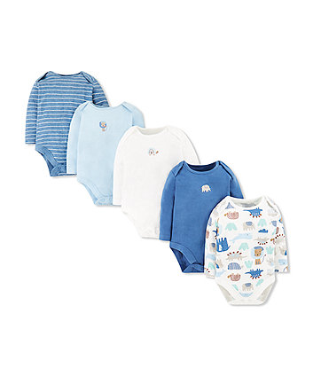 Mothercare Blue Animal Friends Bodysuits - 5 Pack