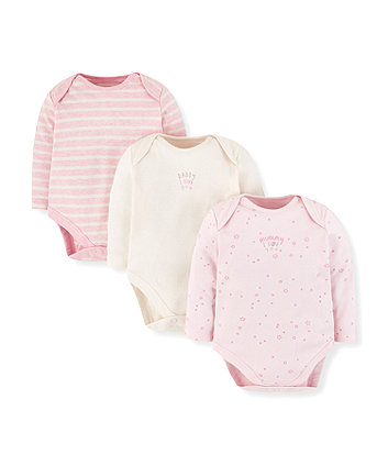 Pink Mummy And Daddy Bodysuits - 3 Pack