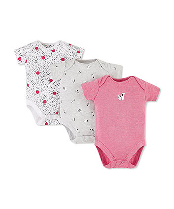 Mothercare Spotty Puppy Bodysuits - 3 Pack