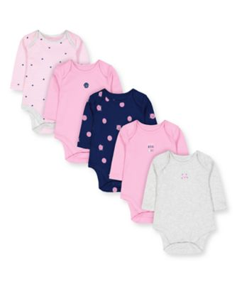 Mothercare STRIPEY CAT Long Sleeve Bodysuits - 5 Pack