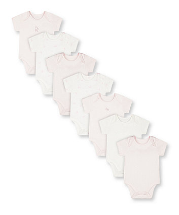 Mothercare Pink My First Bodysuits - 7 Pack