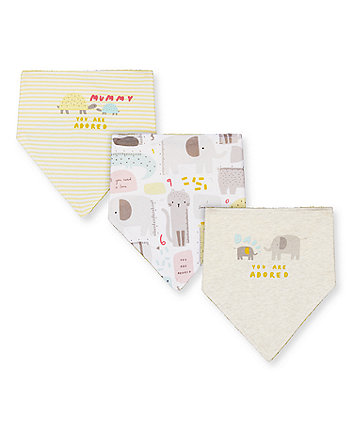 Mothercare Mummy And Daddy Animal Bibs - 3 Pack