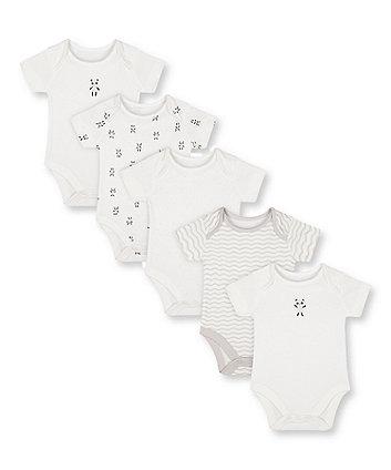 Mothercare Panda Bodysuits - 5 Pack
