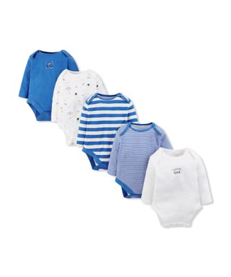 Mothercare Little Space Long Sleeve Bodysuits - 5 Pack