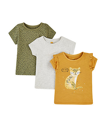 Mothercare Mustard Leopard, Grey And Khaki Spot T-Shirts - 3 Pack