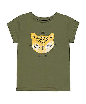 Mothercare Khaki Wild And Free Leopard T-Shirt