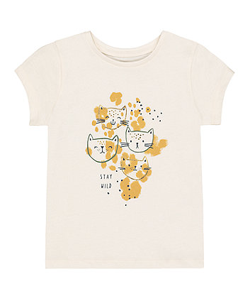 Mothercare Cream Cat Leopard Stay Wild T-Shirt