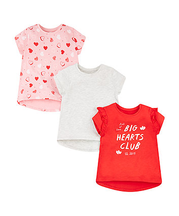 Mothercare Big Hearts Club Red, Grey And Pink T-Shirts - 3 Pack