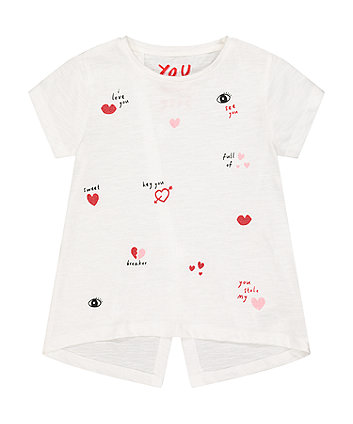 Mothercare White Glitter Heart Graphic T-Shirt
