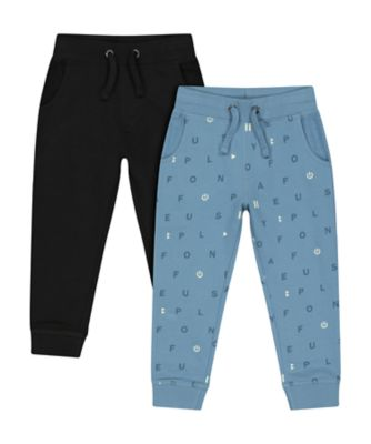 Mothercare Soft Visionary Blue Print And Black Joggers - 2 Pack