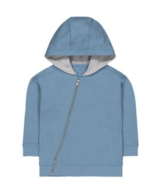 Mothercare Soft Visionary Blue Diagonal Zip-Through Hoodie